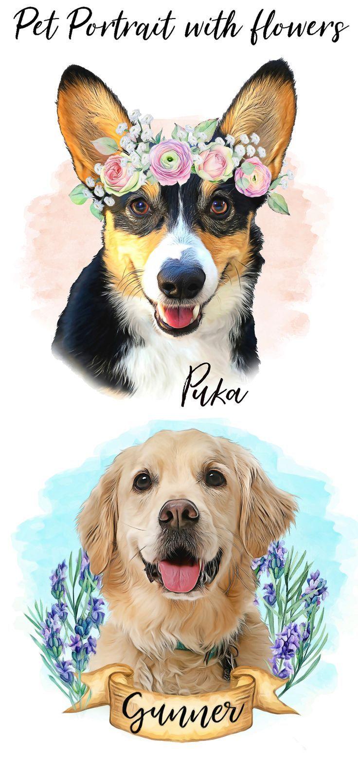 Custom digital pet portrait with flower crownbeagle dog