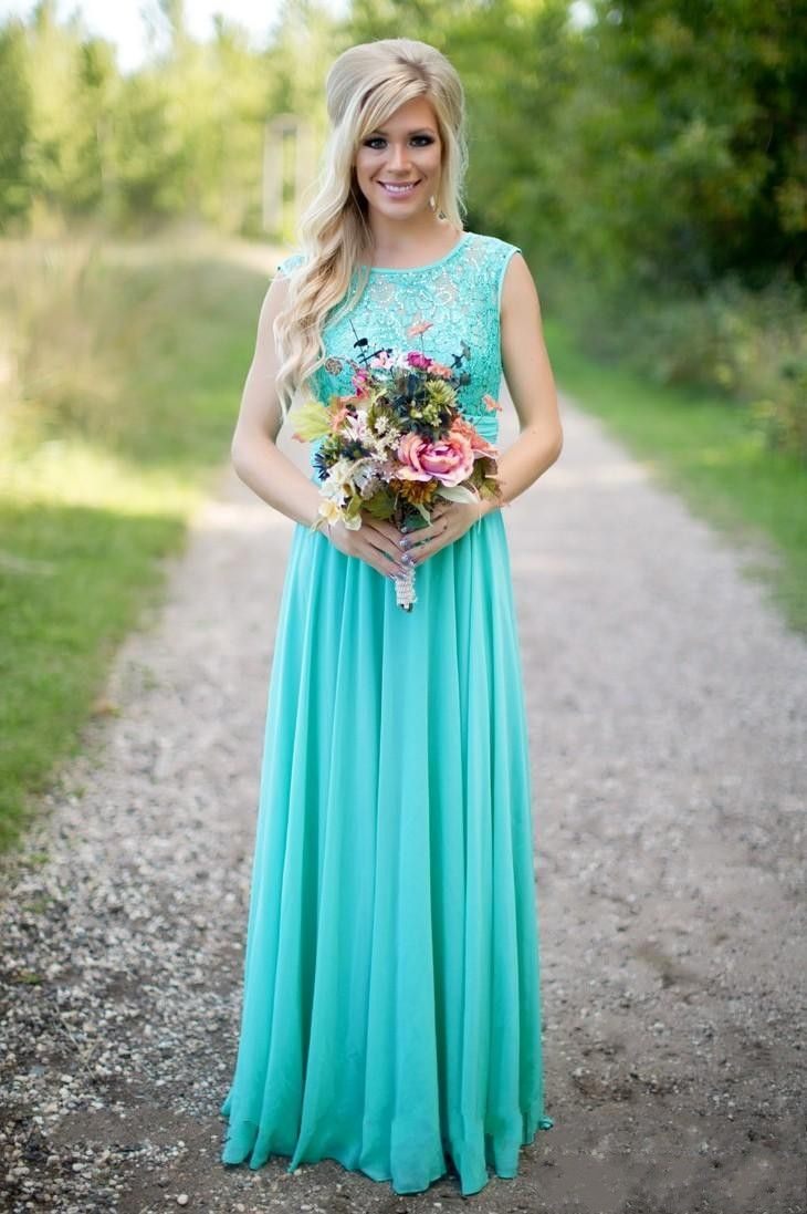 2016 Cheap Rustic Country Long Bridesmaid Dresses with Sheer Crew ...
