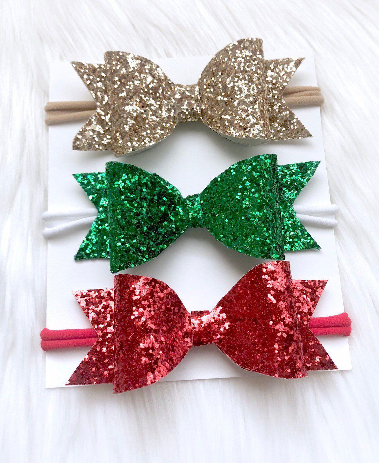 Glitter bow hair clip Christmas hair bows Hairbow Baby girl headband Glitter bow headband Newborn bow headband Christmas bow headband