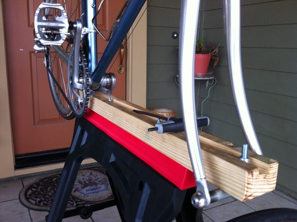 Sawhorse Mounted Bicycle Stand By Thejapino Homemade Sawhorse Mounted Bicycle Stand Intended To Secure The Frame Via The Bott Bicycle Stand Sawhorse Bicycle