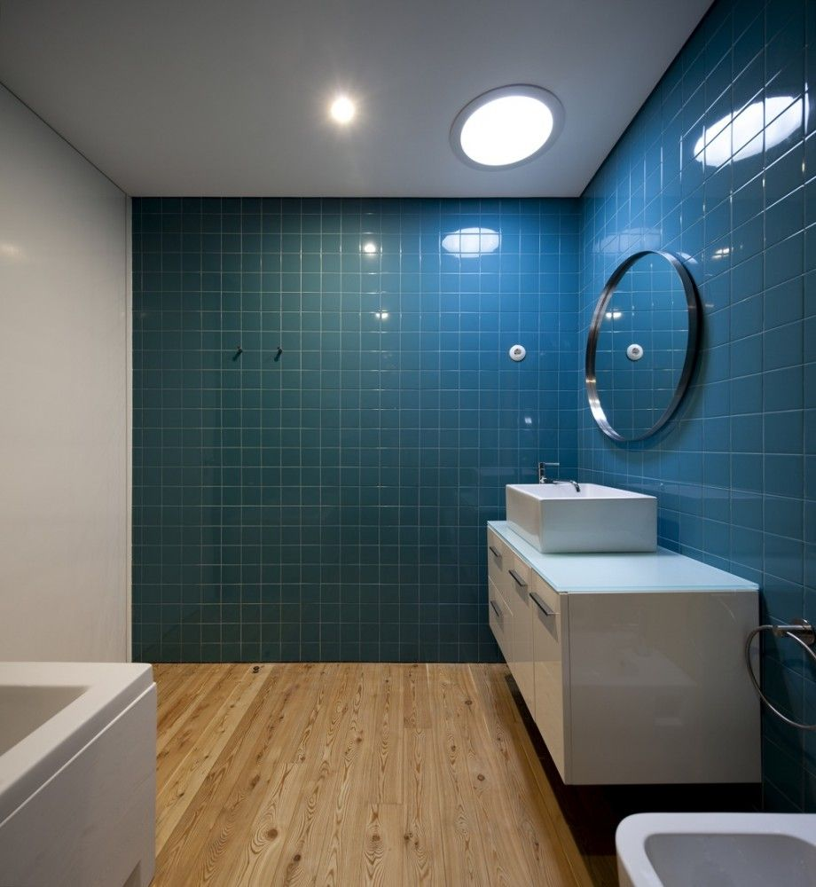 Dark Blue Bathroom 07cmm Spaceworkers Wooden Floor Tiles Bathroom Wall And Blue And