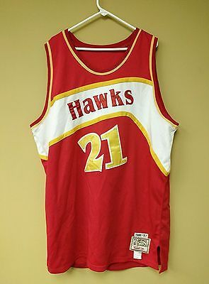d4f7dc74e Dominique Wilkins  21 Atlanta Hawks Mitchell   Ness SEWN 86-87 NBA Jersey  sz  56
