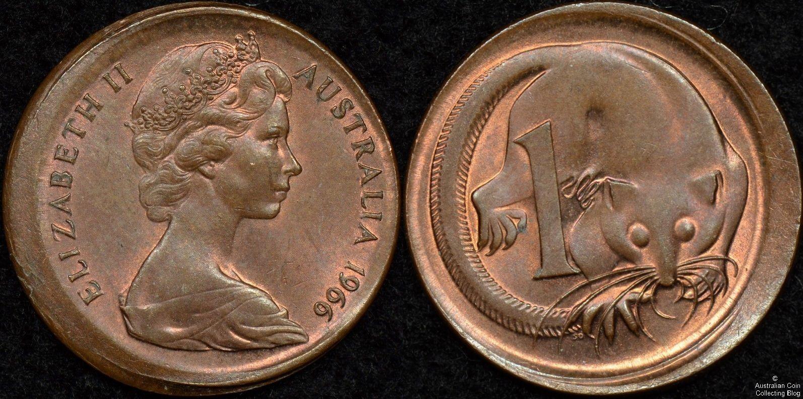 Australia 1966 1 Cent Broadstrike Error Coins Coinerrors