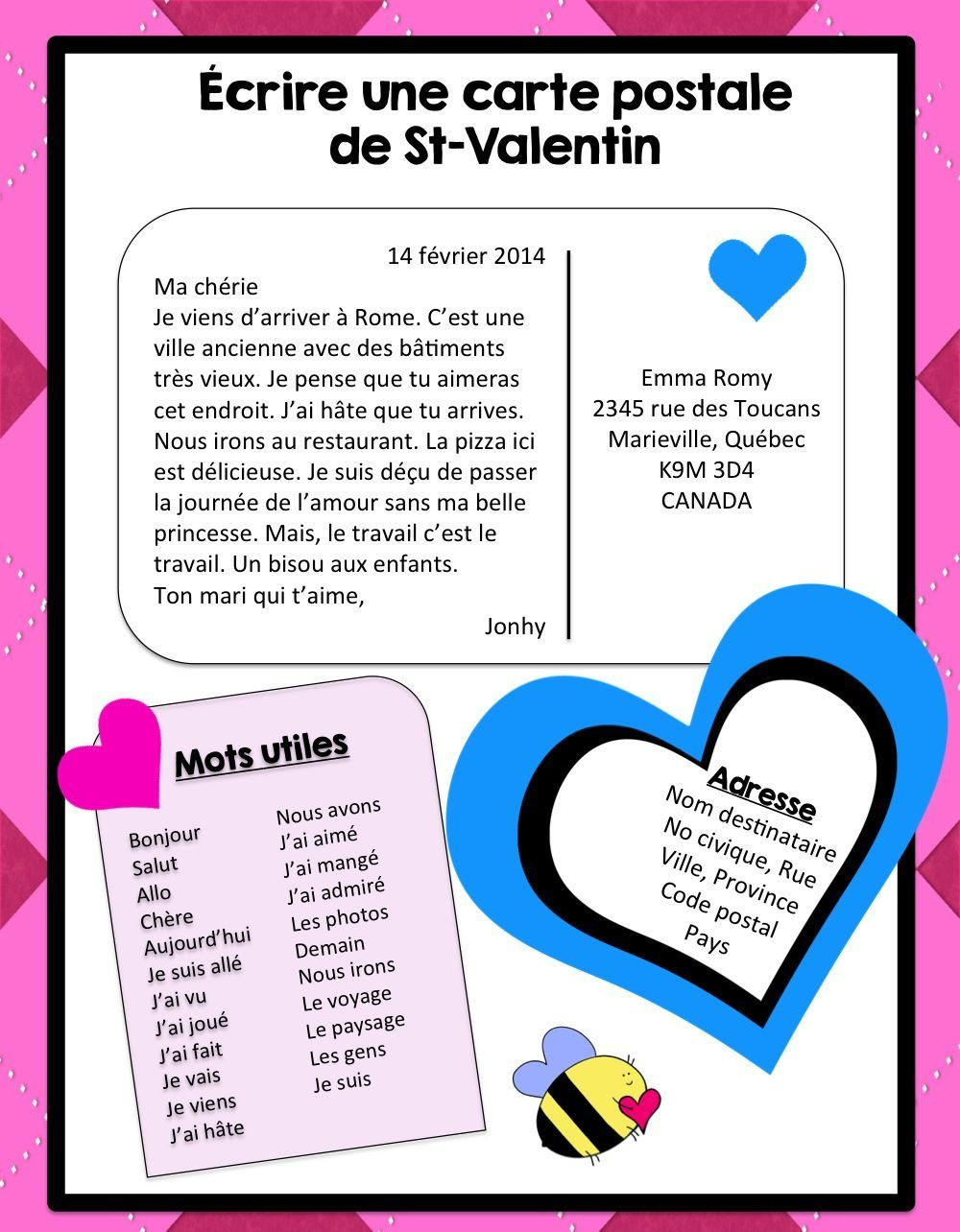 St Valentin Ecriture French Valentine S Writing Activity Writing Activities Valentines Writing Activities Valentines Writing