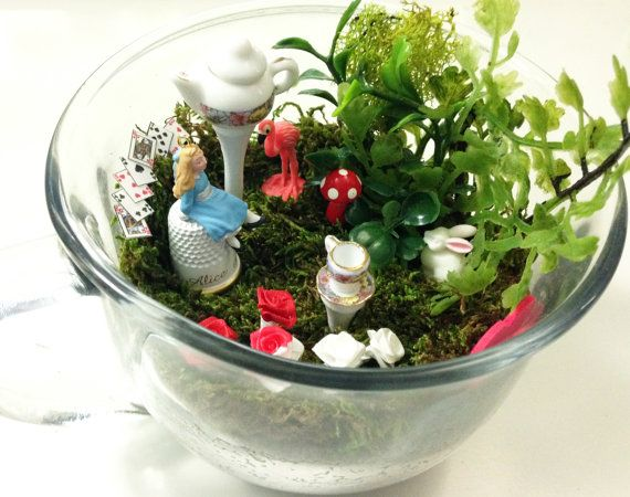Alice In Wonderland Fairy Garden / Miniature Teacup Terrarium / Dollhouse  Scale Fantasy Diorama / Cake