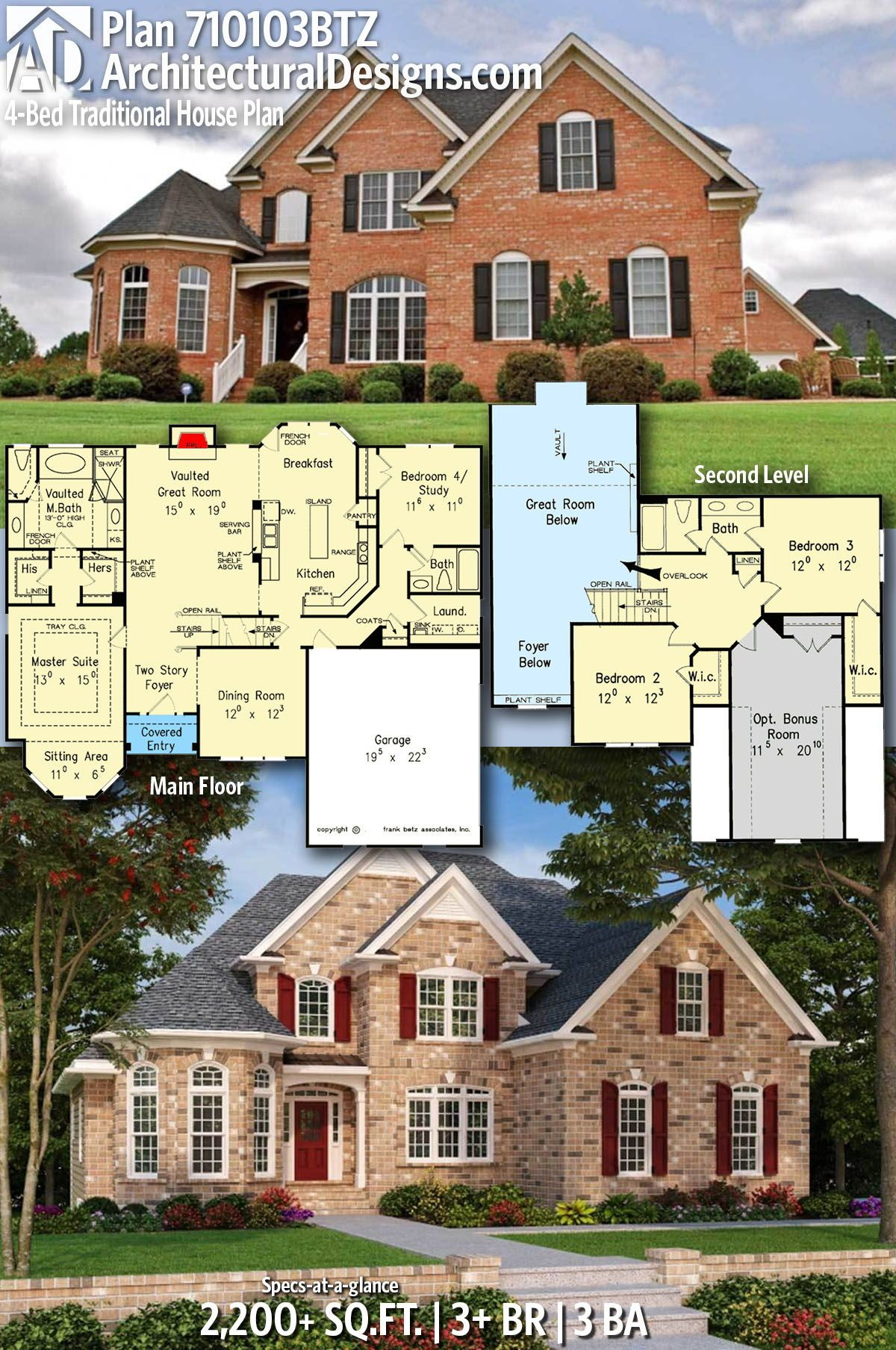 Photo of Plan 710103BTZ: 4-Bed Traditional House Plan with Brick Exterior and Office Option