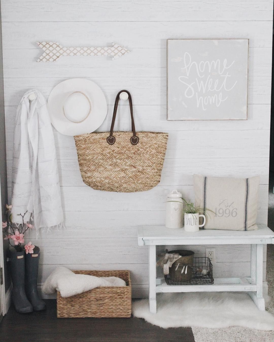 Stunning entryway with shiplap peel and stick wallpaper