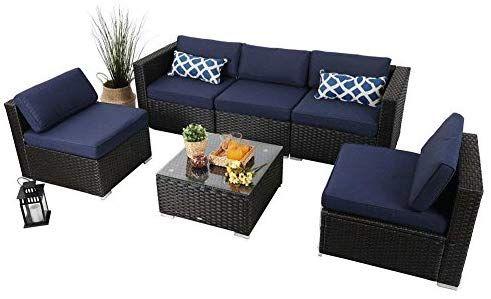 9a5c8b7730c7 Amazon.com : PHI VILLA Outdoor Rattan Sectional Sofa- Patio Wicker Furniture  Set (6-Piece 2, Blue) : Garden & Outdoor