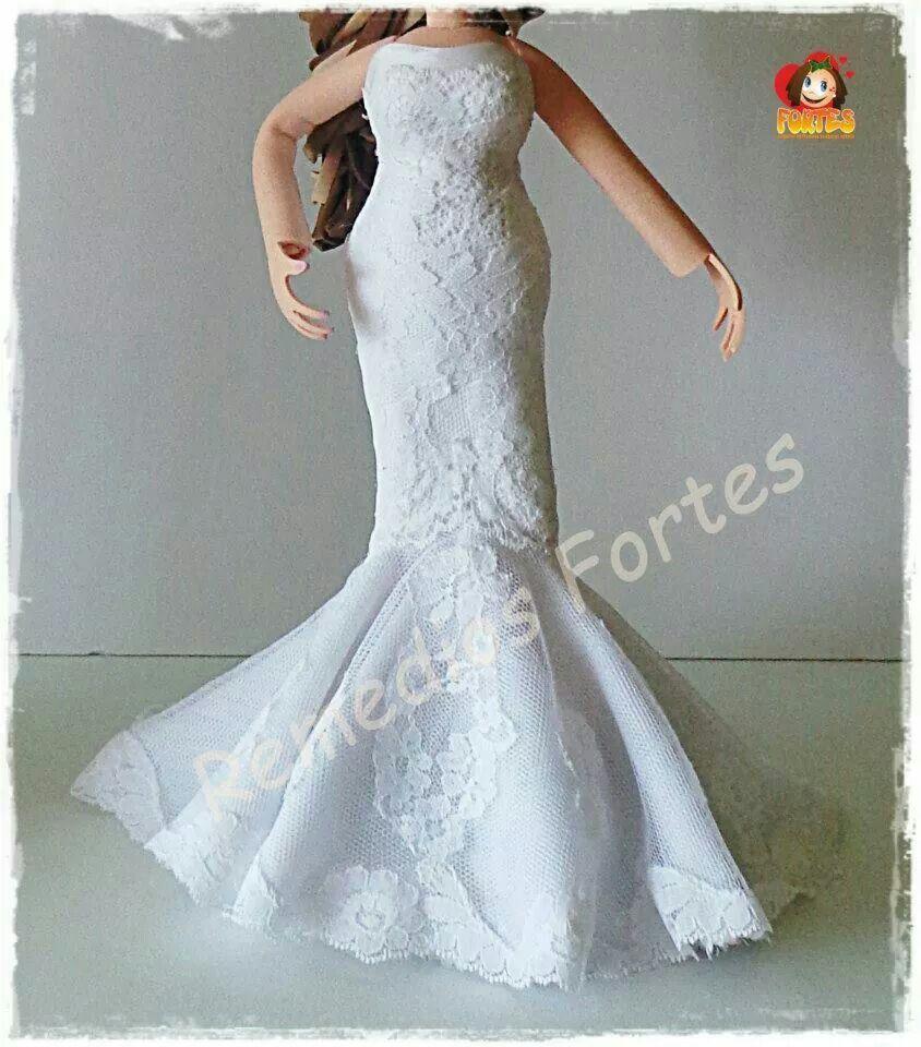 Vestido de novia en goma eva. Fofucha de boda. | Bodas foami ...