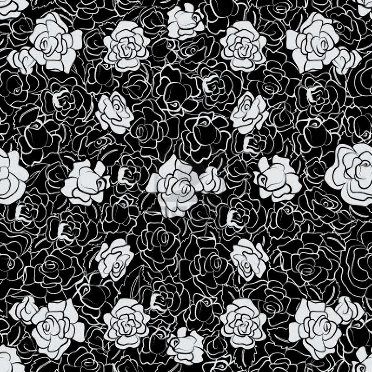 Wallpapers For > Black Rose Pattern Wallpaper