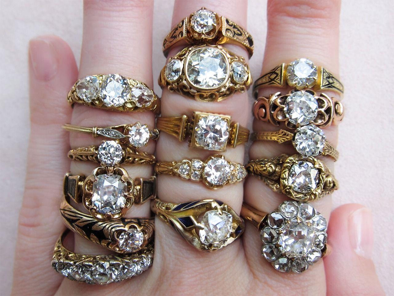 E R S T W H I L E — Antique Victorian engagement rings