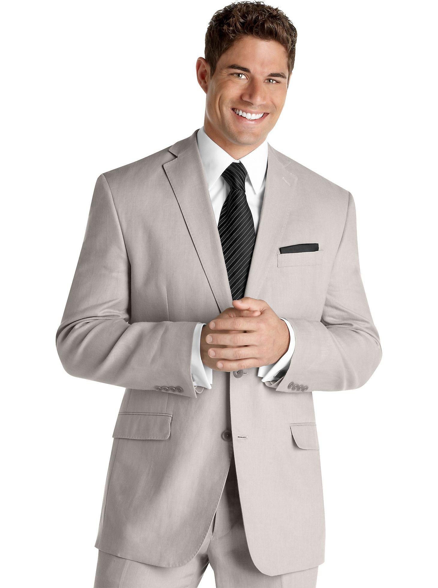 Light grey linen suit for the gentlemen ... an option for warm ...