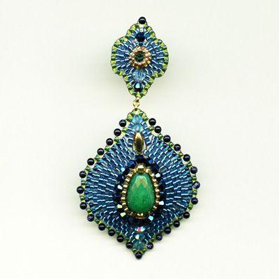 blue gold stone, green jade, swarovski, rondelles, miyuki