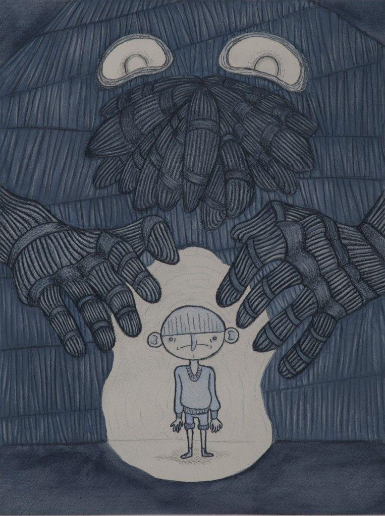 «Otra manera de abordar la enfermedad» por Oihana Iturbide. Zakhari Halas Presence Acuarela y ceras 2013.