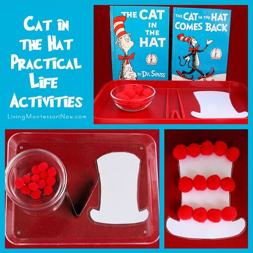 In honor of Read Across America and the Virtual Book Club for Kids (which is celebrating Dr. Seuss this month), I'm sharing a couple of simple ideas for creating Dr. Seuss practical life activities.