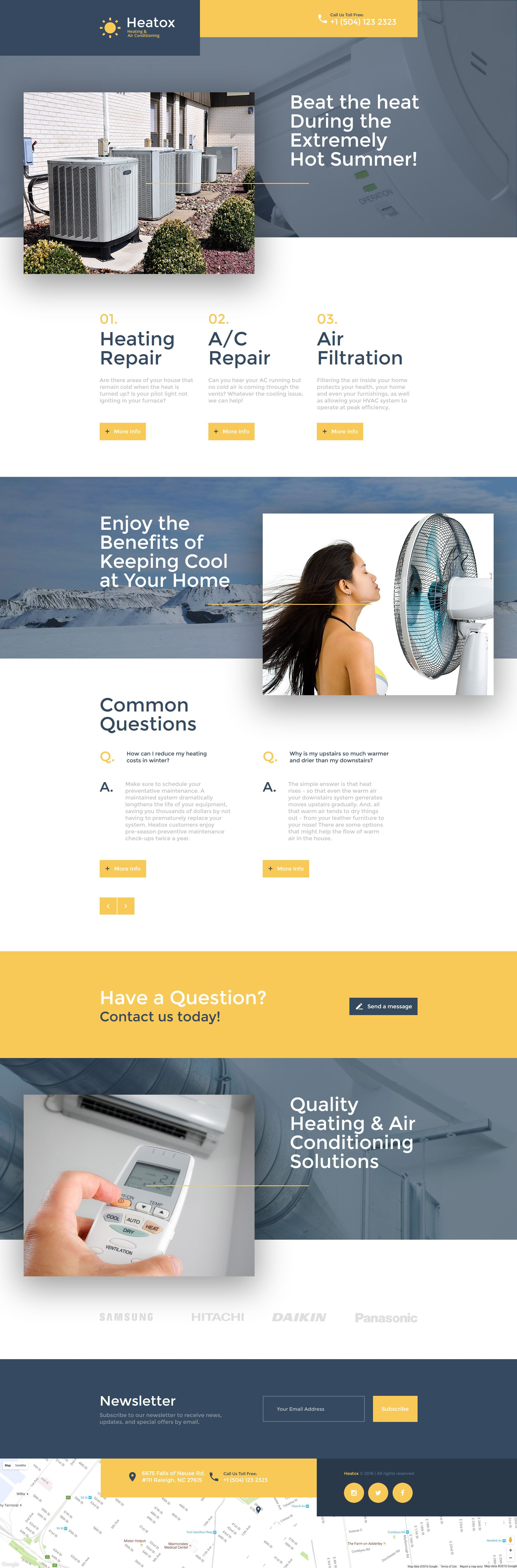 air conditioning responsive landing page template new website