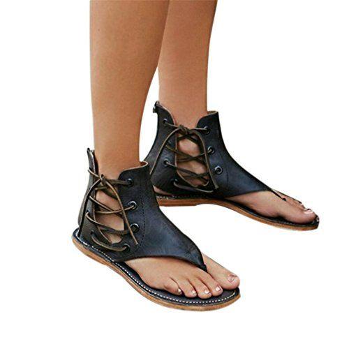 b26ef552388f79 Chaussures à Talons Femme Sandales Sandales Été Compensé Mode Pente Sandales  Romaines à Large Bande pour Femmes Plage Zip ELECTRI (41 Noir)