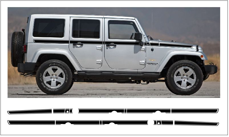 0630 Jeep Wrangler Sahara Extended Chief Stripes Decal Graphic Jk