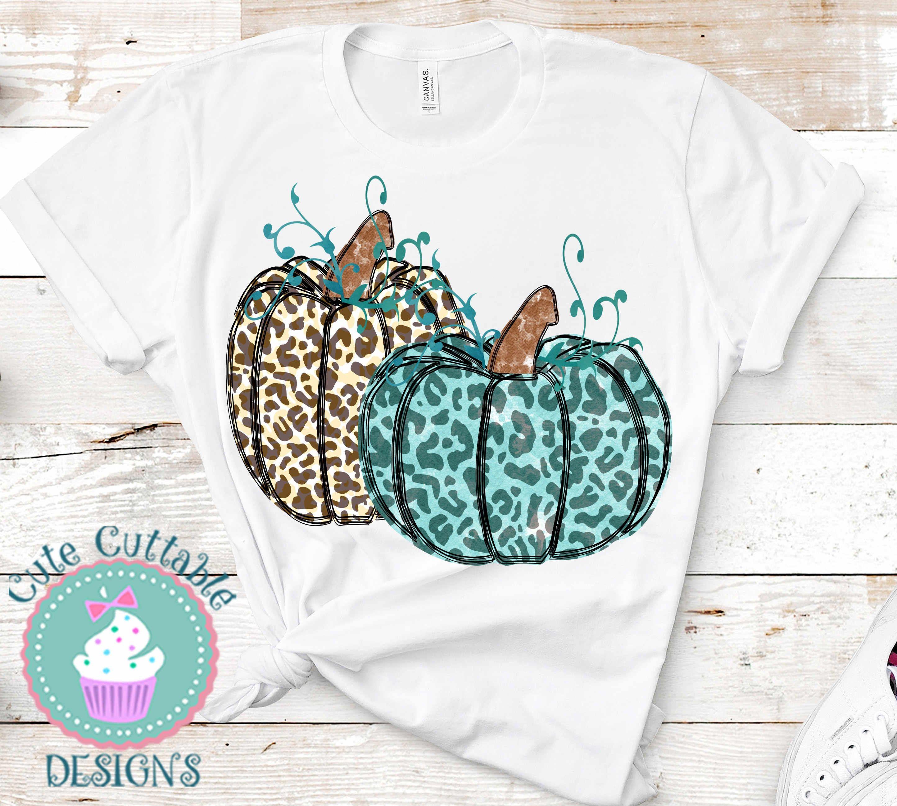 Sublimation Leopard Pumpkin Design, Hand Drawn Cheetah