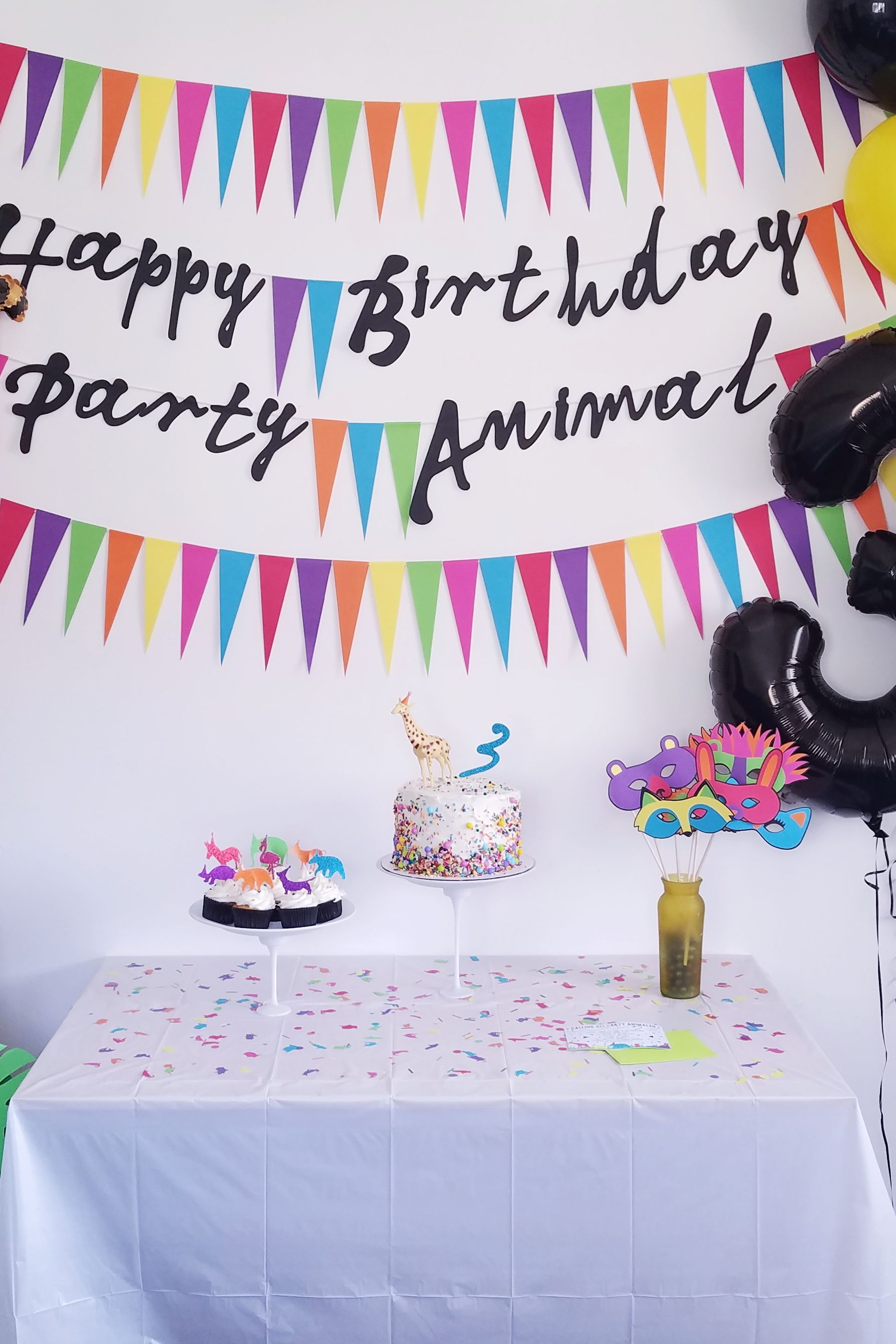 Party Animal Birthday Decorations Bundle From Rad Co Includes Banner Confetti Cupcake Toppers And Masks