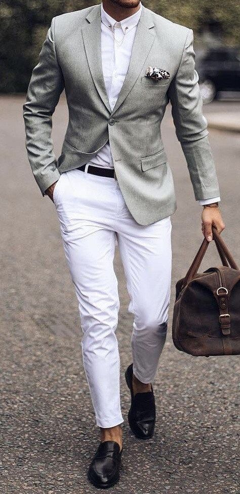Light green sport coat with white pants