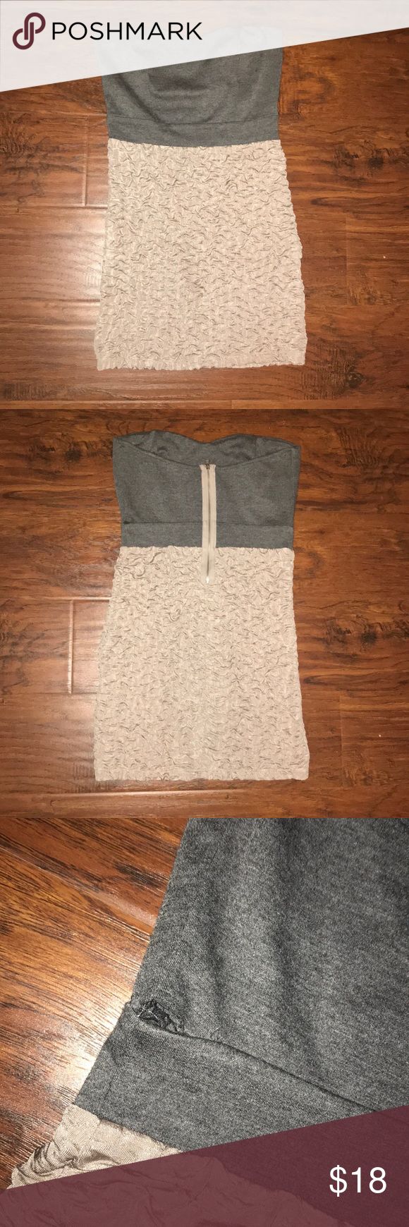 Strapless Dress 💜 Super cute strapless dress.! It's been worn and also has a small hole on the back on the dress. Super easy fix, you can't even see it when you wear it.! Dress is a size large but runs very small. I'm a size small and it fits perfect on me Solemio Dresses Strapless
