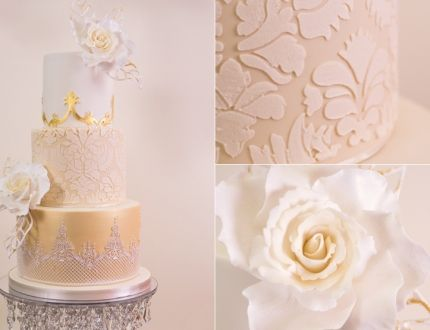 Golden Damask Wedding Cake Tutorial Learn To Make Gold Lace Stencil The