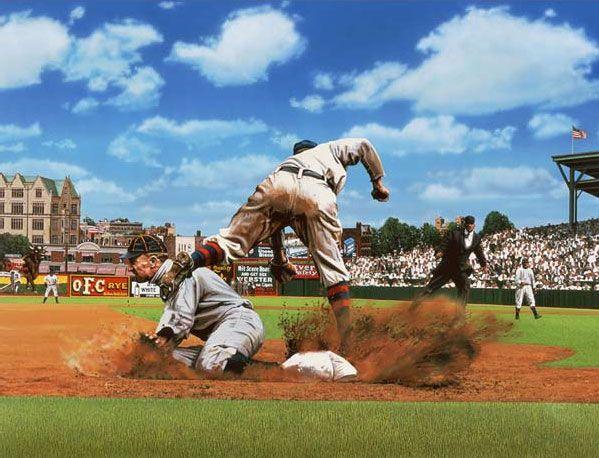 Ty Cobb By Bill Purdom Baseball Paintings Baseball Art