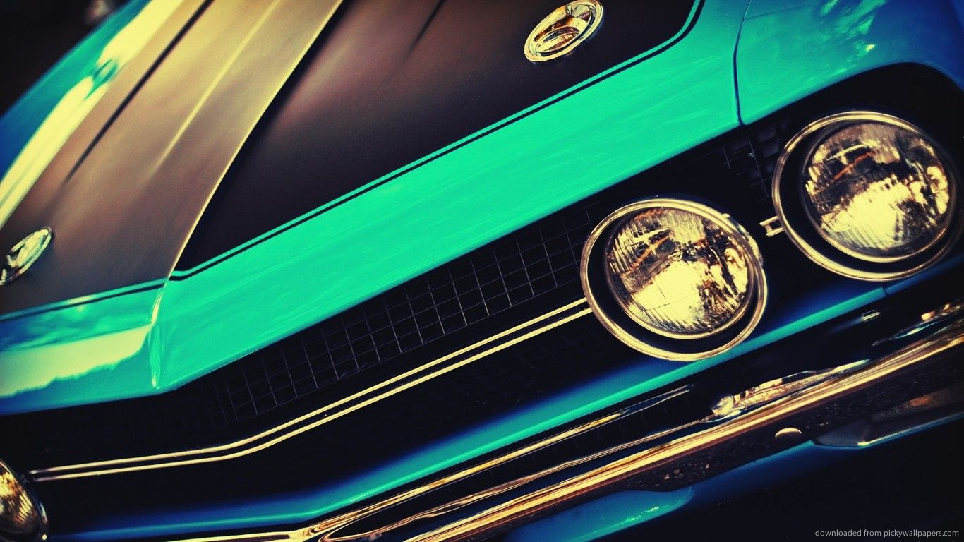 download 1366x768 blue vintage muscle car wallpaper | epic car