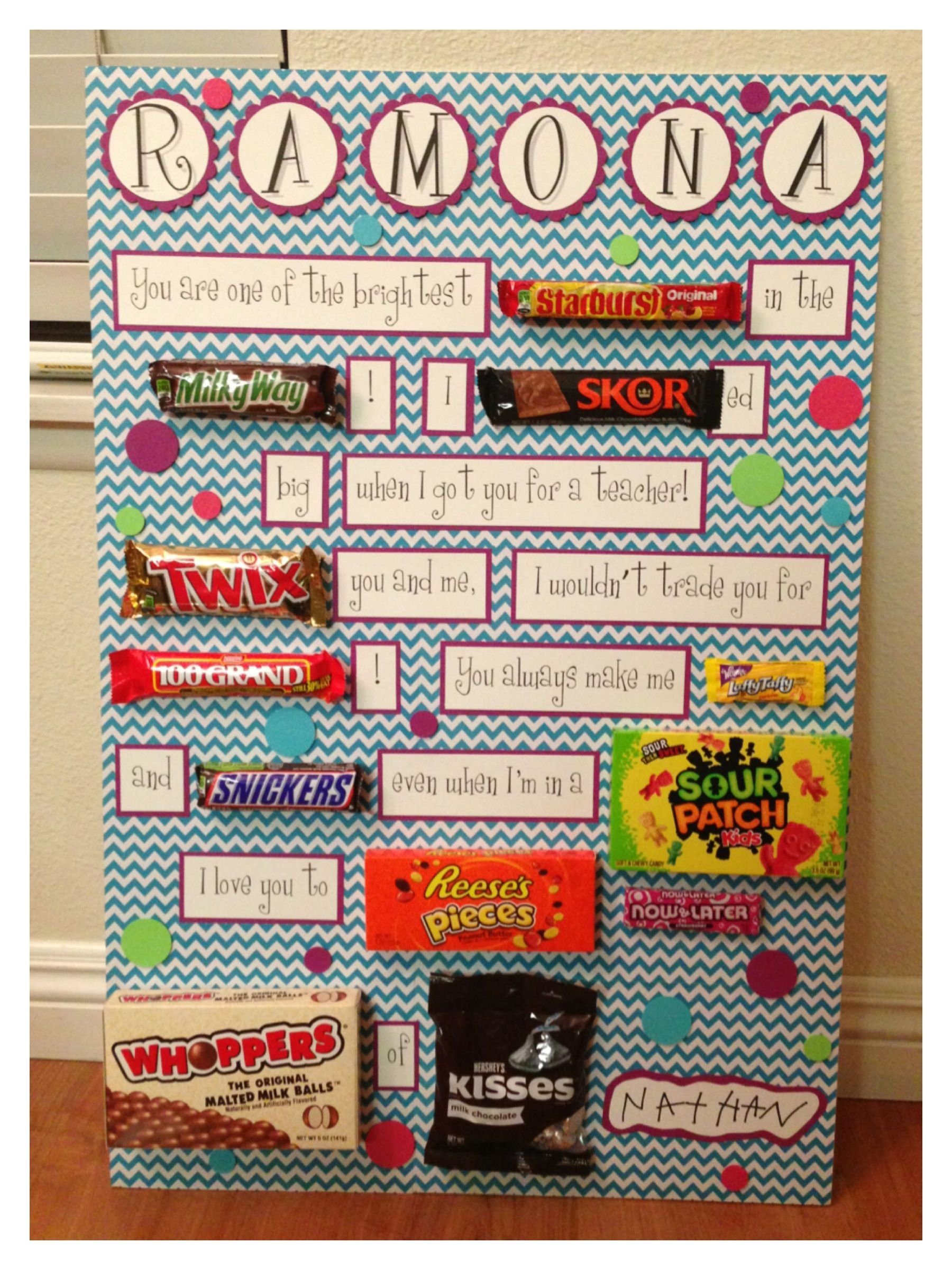 Candy card for birthday, teacher appreciation, or any