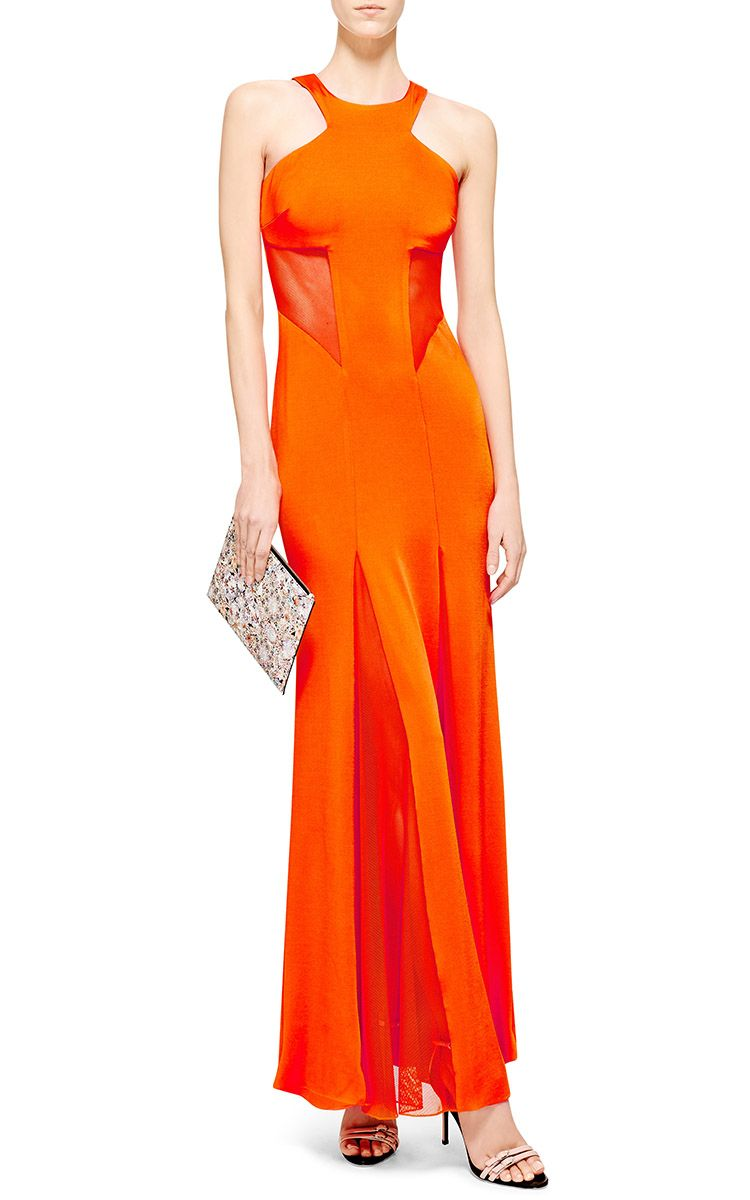 Jersey and mesh paneled maxi dress by cushnie et ochs moda