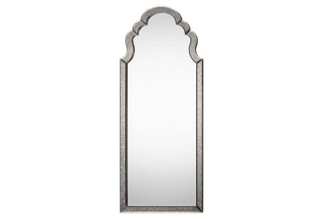 """26""""x62"""" Queen Anne Floor Mirror, Silver $379.00"""