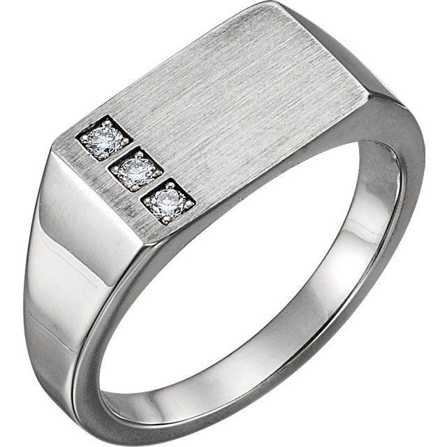 Men S 14k White Gold Diamond Signet Ring Style 9830 Diamond