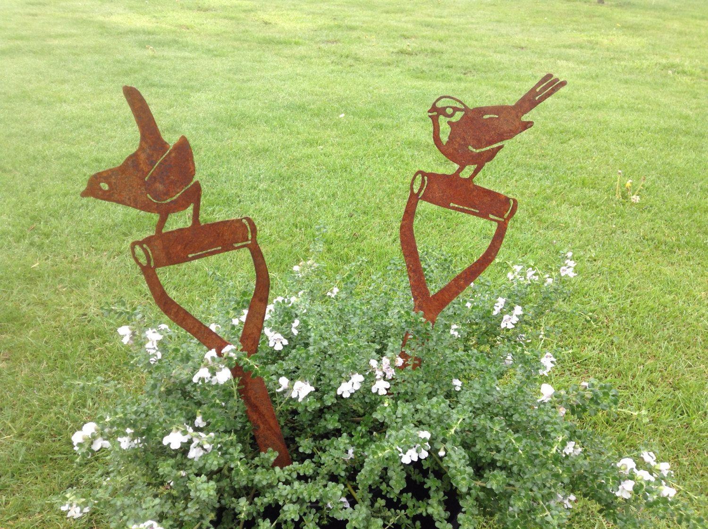 Rusty Bird on Fork Handle / Gardener Gift / Rusty Metal Garden Art ...
