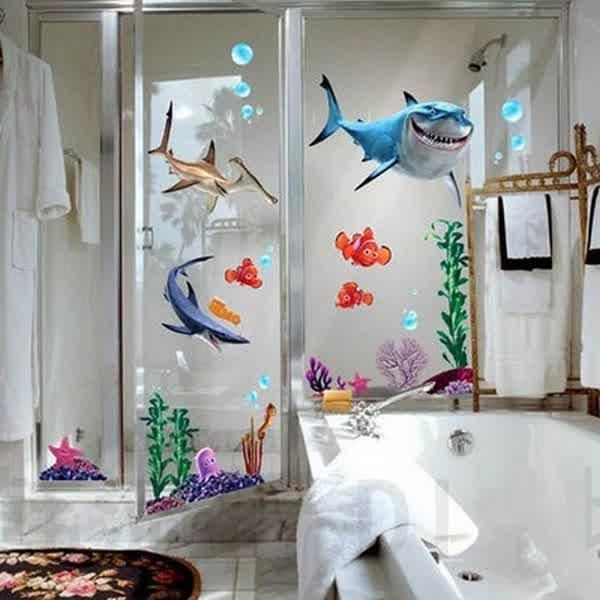 Delicieux Bathroom Remodel, Finding Nemo Design Of Disney Bathroom Ideas With  Cheerfull And Interesting View Shark