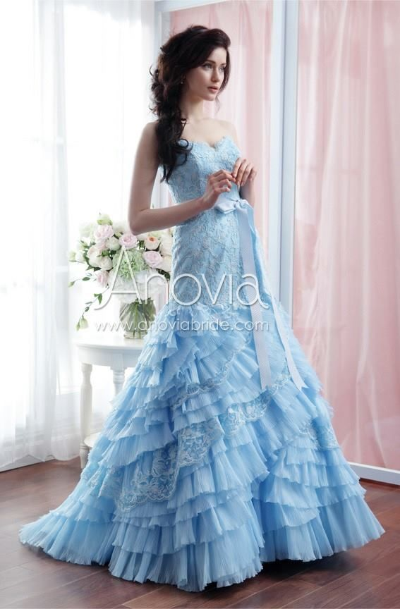 Baby blue Fit and Flare lace gown featuring cascading ruffled skirt ...