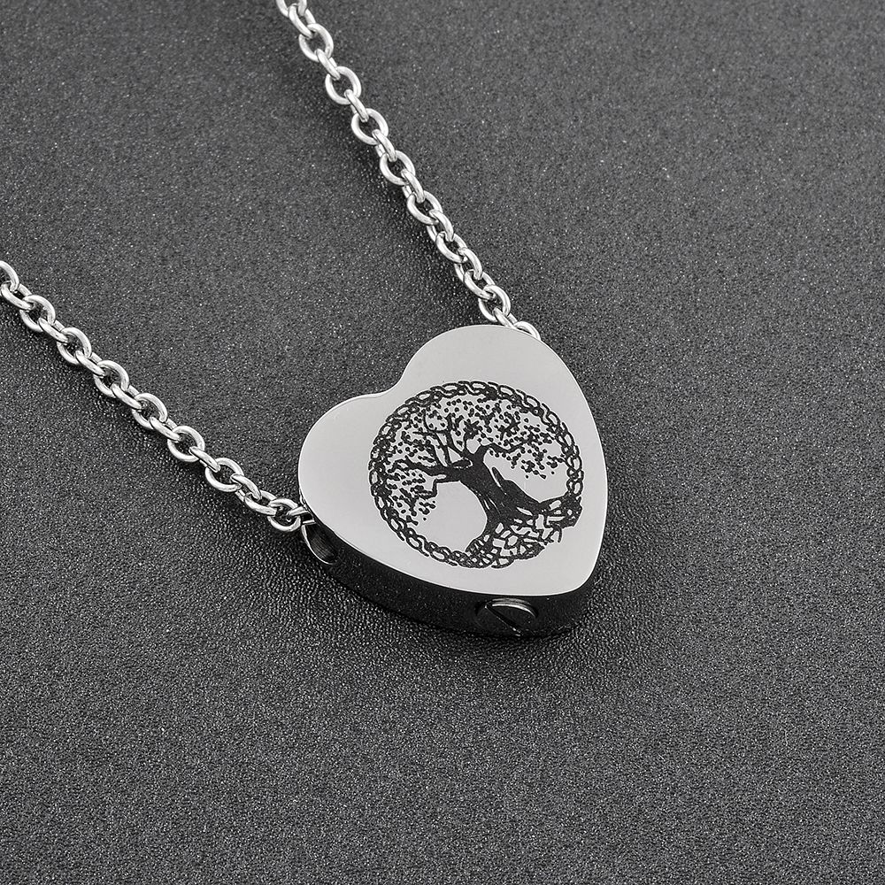 IJD9813 Top Quality Women Stainless Steel Silver Color Heart Cremation Jewelry for Ashes Pendant Necklace Accessories Wholesale