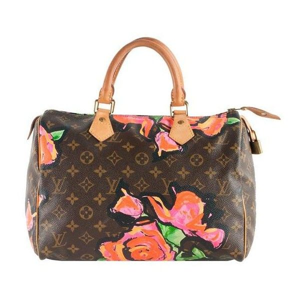 Louis Vuitton Limited Edition Monogram Roses Speedy Satchel Bag ❤ liked on Polyvore