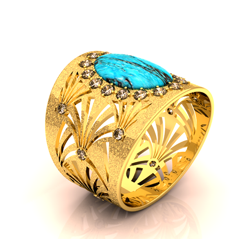 CHIC 'JOSEPHINA' COCKTAIL RING 18K Yellow Gold, Turquoise, and Diamonds - Designed by Brandon Love