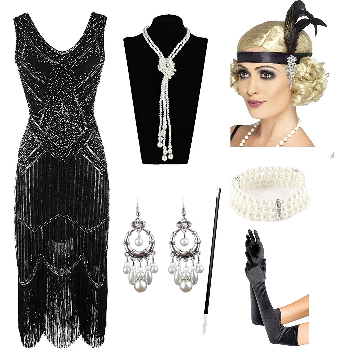 1920s Gatsby Sequin Fringed Paisley Flapper Dress With 20s Accessories Set At Amazon Women S Clothing Sto Flapper Dress Flapper Dress Gatsby Costumes For Women