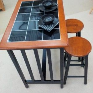 Breakfast Bar Dining Set Kitchen Table And 2 Stools Black Tile Top And Wood Stylish Compact Top Kitchen Table Kitchen Table Copper Rustic Dining Set
