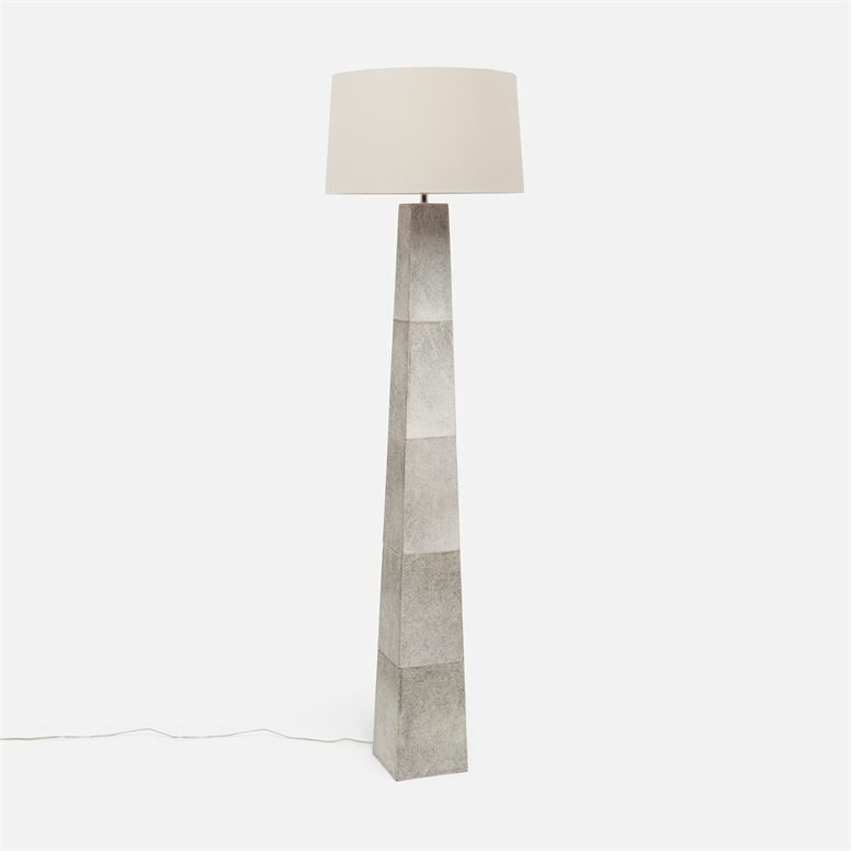 Chic And Contemporary Gray Cowhide Floor Lamp Floor Lamp Flooring Drum Shade