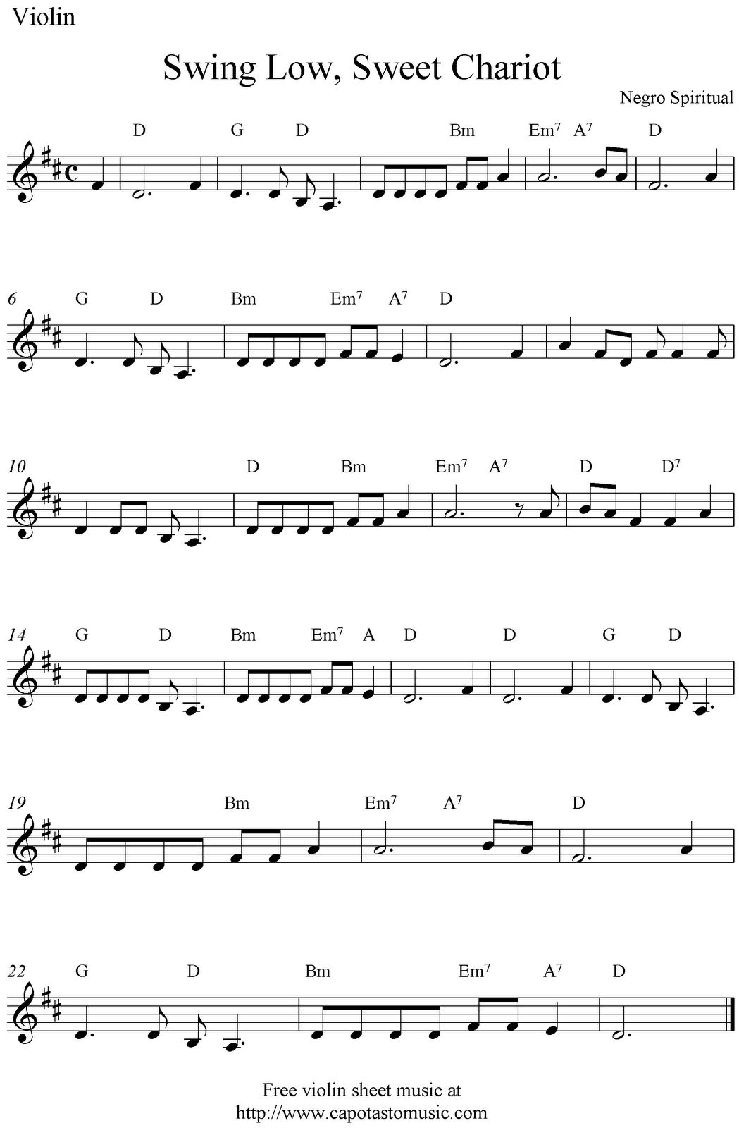 Swing Low Sweet Chariot Violin Sheet Music Violin Sheet Music