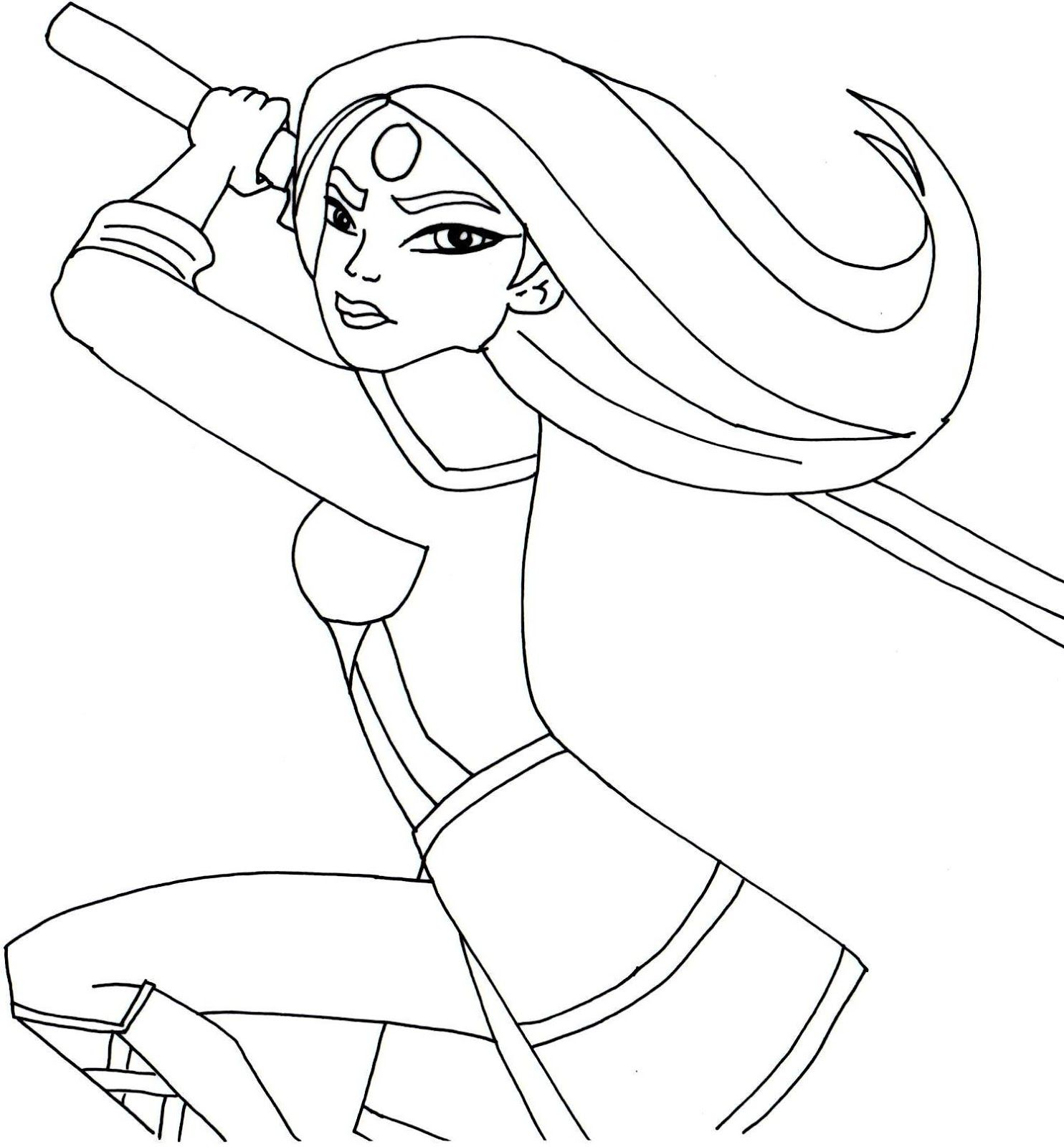 Free printable super hero high coloring page for Katana One of my ...