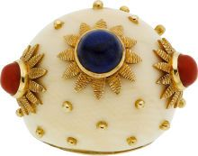 Ivory, Coral, Lapis Lazuli, Gold Ring The ring features an ivory dome, enhanced by coral and lapis lazuli cabochons, set in 18k gold. Gross weight 40.88 grams. Dimensions: 1-5/8 inch x 1-7/16 inch