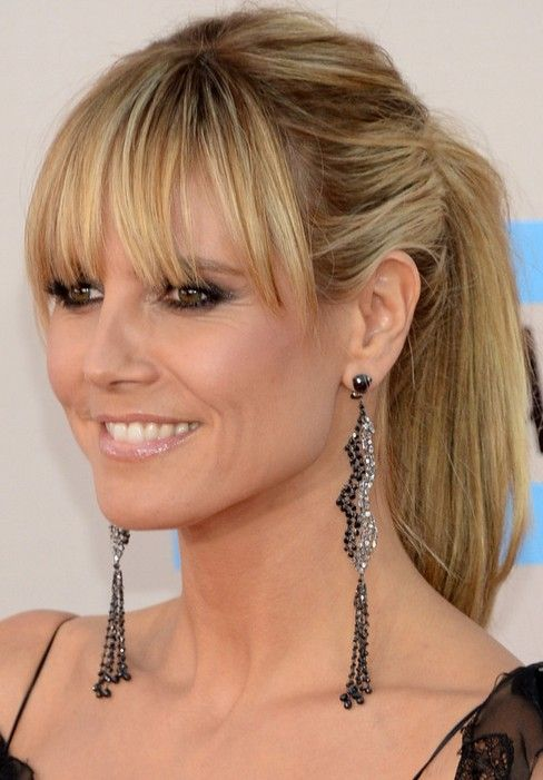 Heidi Klum Long Hair style: 2014 Ponytail with Wispy Bangs,    i like it.   ;)