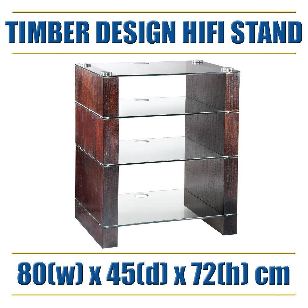 Modern Hifi modern hifi stand rack unit glossy timber finish glass shelves solid