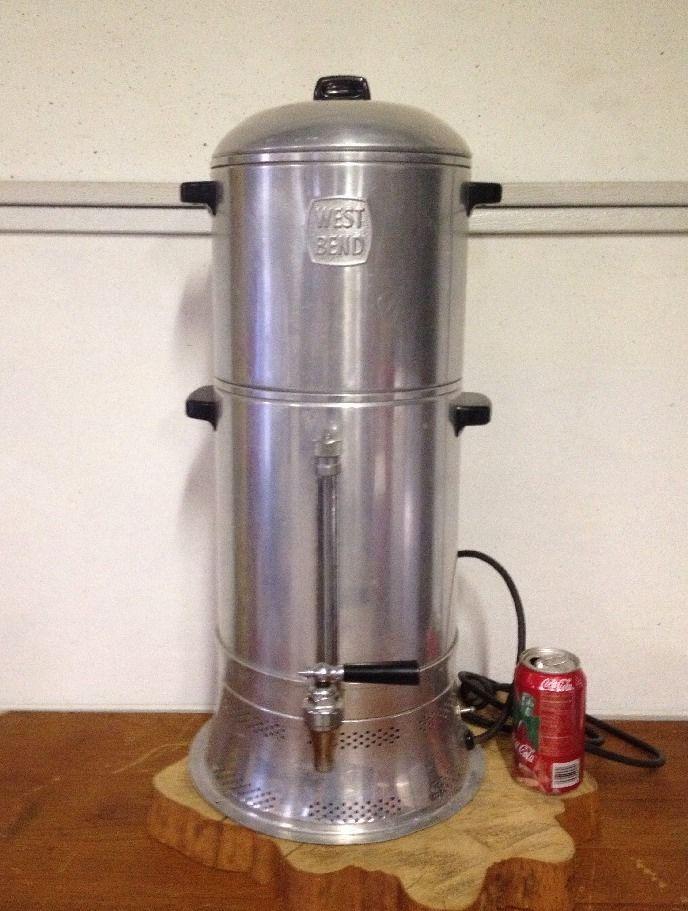 Mid Century West Bend Coffee Urn Percolator Huge 2 Gallon 25 Vintage Working Coffee Urn Vintage Coffee Pot Vintage Coffee
