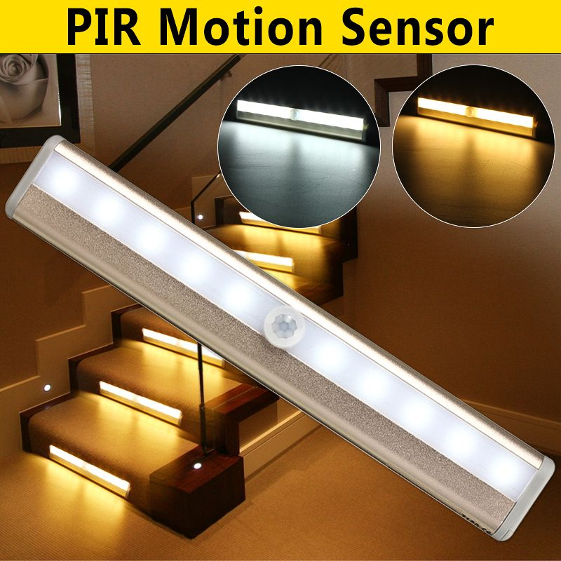 10 Led Night Light Bar Motion Sensor Closet Light Cordless Under Cabinet Lighting Stick On Anywhere Wireless Battery Operated Safe Lights For Closet Cabinet War In 2020 Motion Sensor Closet Light Led