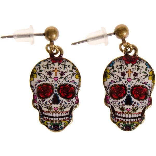 Blue Banana Red Eye Sugar Skull Earrings ($4.59) ❤ liked on Polyvore featuring jewelry, earrings, 28. earrings., 29. earrings., skull jewellery, skull jewelry, blue jewelry, skull earrings and red earrings